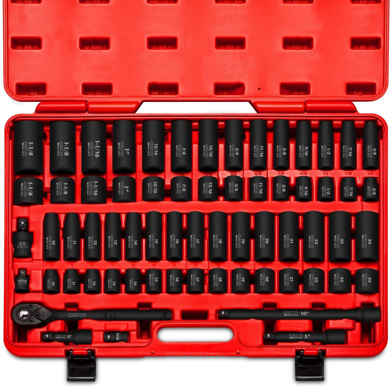 Neiko 65-Piece, 1/2-Inch Drive, Master Impact Socket Set