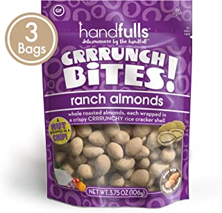 CrrrunchBites Ranch Almonds (3-Pack) by Handfulls. Whole Roasted Almonds Wrapped in a Potato Chip for a Satisfying Crunch. Gluten-free, Non-GMO, Vegan (3.75 oz Bags)