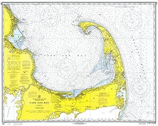 Map - Cape Cod Bay, 1969 Nautical NOAA Chart - Massachusetts (MA) - Vintage Wall Art - 55in x 44in