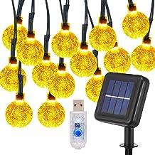 KYOMILY Globe Fairy String Lights, 24 FT 50 LED Bulb USB & Solar Patio String Lights Waterproof 8 Modes for Wedding Center...