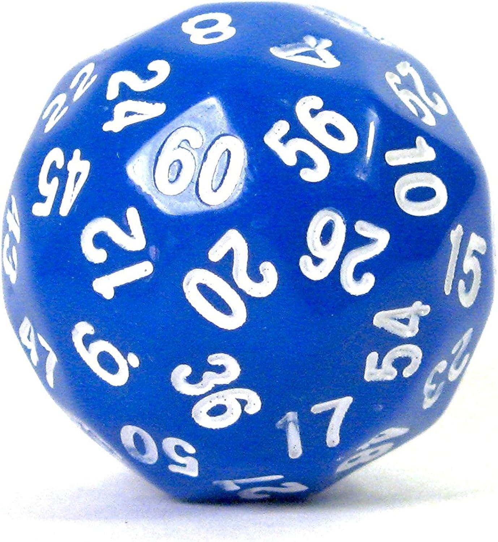 D60 Sixty-Sided Polyhedral RPG Gaming Die Dice - bluee