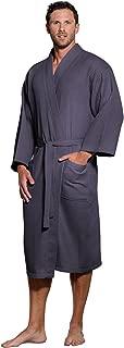 Lightweight Long Waffle Kimono Spa Robe for Men