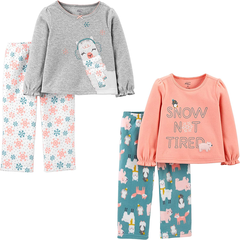 Simple Joys by Carter's Toddler Girls' 4-Piece Fleece Pajama Set (Poly Top & Fleece Bottom) : Clothing, Shoes & Jewelry