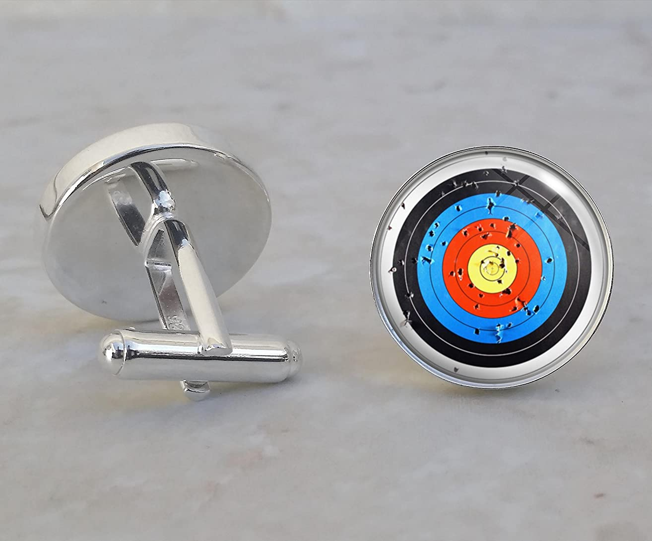 Archery Bow and Arrow Target .925 Sterling Silver Cufflinks