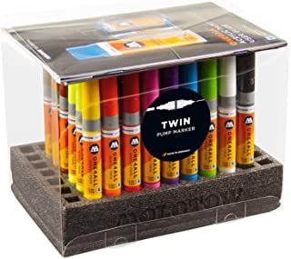 Molotow ONE4ALL Acrylic Twin Pump Marker Complete Set, 50 Markers and Refill Extensions, Assorted Colors, 1 Set Each (200.229)
