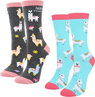Women's Girls Novelty Crazy Llama Cotton Crew Socks, Funny Cute Animal Design