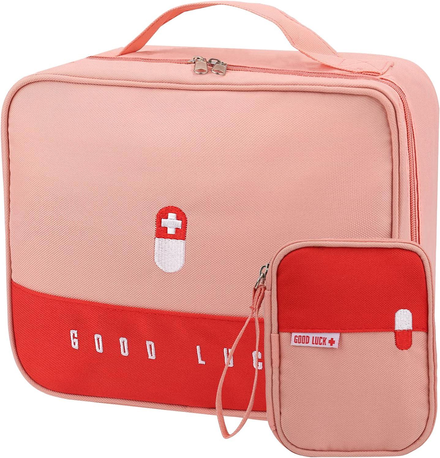 2PCS Botiquín médico vacío VVEMERK estuche medicamentos neceser de medicamentos para poder incluir botiquin de primeros auxilios maletin portátil para llevar medicinas Rosa