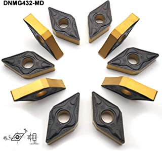 """FomaSP DNMG150408 MD CNC Indexable CarbideTurning Inserts DNMG432 Fit for ISO Standard Lathe Turning Tool Holder, thechip Breaker fit for SANDVIK's """"PM"""", Multi-Layer Coating,10pcs"""