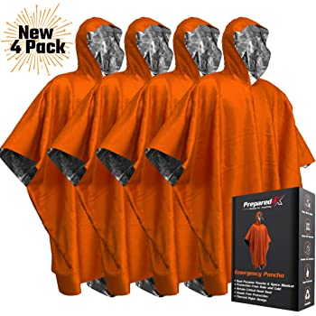 PREPARED4X Emergency Blanket Poncho - Keeps You and Your Gear Dry and Warm | Survival Gear and Equipment for Outdoor Activity | Camping and Hiking Gear | Thermal Mylar Space Rain Ponchos | 4 Pack