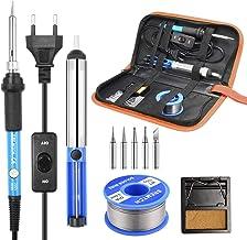 Soldeerbout Set, SREMTCH 60W / 220V Elektronische Soldeerbout Instelbare Temperatuur 200-450 ° C En AAN/UIT-Schakelaar, 10...