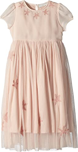 Stella McCartney Kids Maria Cap Sleeve Tulle Dress w/ Star Patches (Toddler/Little Kids/Big Kids)