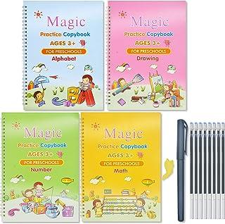 Larcenciel 4pcs Large Size Magic Practice Copybook for Kids,Reusable Magic Calligraphy Set-Number Math Drawing Alphabet Ha...