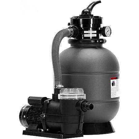 Arebos Filtre à sable avec pompe | 400 W | 10200 l/h | Volume du réservoir jusqu'à 20 kg de sable | Gris