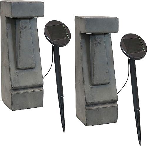 new arrival Sunnydaze Set of 2 Tiki Head Outdoor LED Solar Light Patio Statues - Glass Fiber Reinforced Concrete - Light Up Your Patio, Deck, Porch, Yard, Garden, wholesale or Walkway - 2021 17-Inch online
