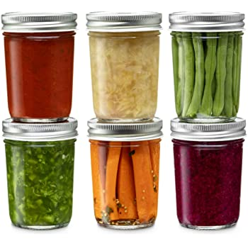 Glass Regular Mouth Mason Jars, 8 Ounce Glass Jars with Silver Metal Airtight Lids for Meal Prep, Food Storage, Canning, Drinking, for Overnight Oats, Jelly, Dry Food, Spices, Salads, Yogurt (6 Pack)