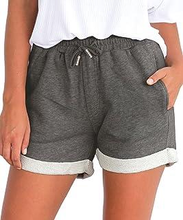 Tengo Women Summer Beach Shorts Juniors Folded Hem Shorts with Drawstring