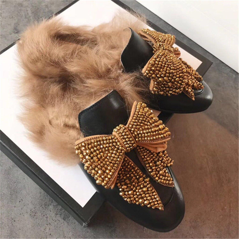 Naomiky kvinnor Fur Slipper Autumn Autumn Autumn Winter Warm Flat skor kvinna Rhinestone Bow slips Slits Kvinnliga Mulor Loafers  här har det senaste