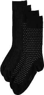 Calvin Klein Men's Dot Flat Knit Socks (2 Pair), Black, UK 6 ½ -11/Eur 40-46