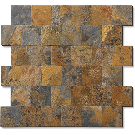 """Backsplash Peel and Stick PVC Tile, Stickon Tile for Kitchen Backsplash, Bathroom Vanities, Fireplace Décor, Laundry Table, Stair Decals in Rusty Slate (12"""" X 12"""", 5 Sheets)"""