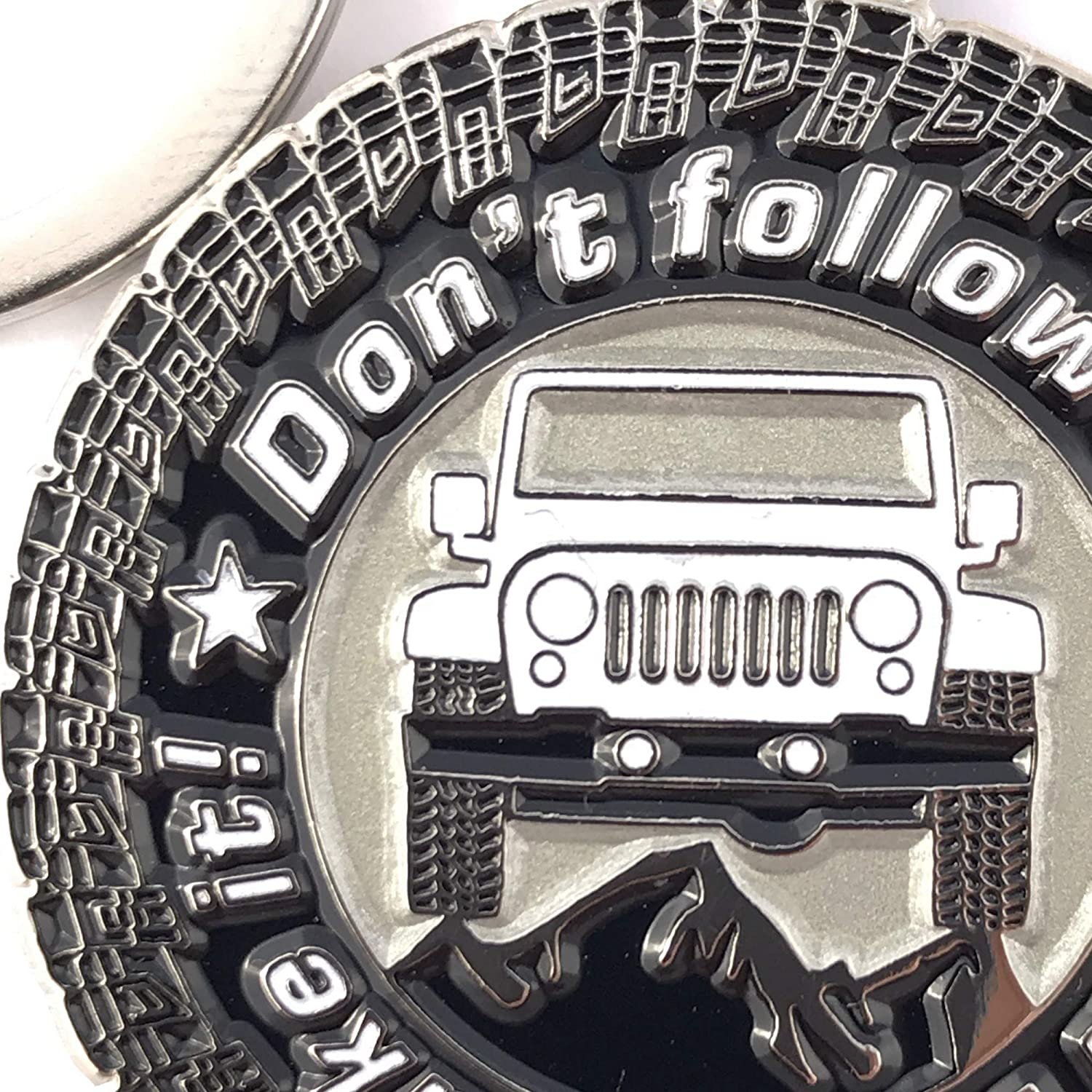 Enamel 3dcrafter Keychain for Jeep Lovers car Accessories Black Replica. Dont Follow Me You Wont Make It Chrome Metal tag