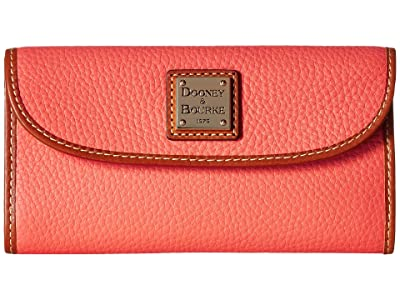 Dooney & Bourke Pebble Continental Clutch (Coral/Tan Trim) Clutch Handbags