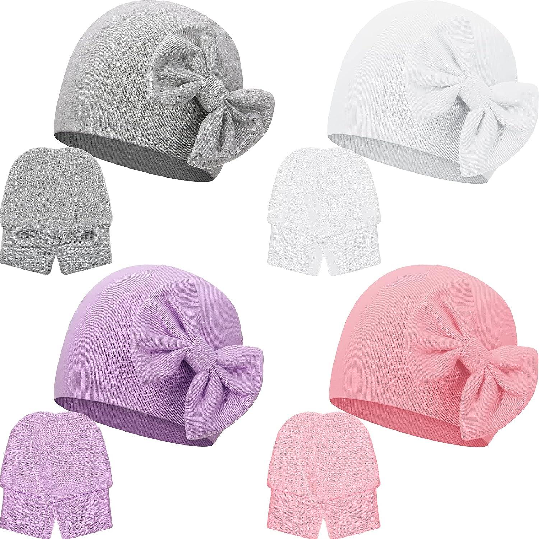 4 Pieces Newborn Beanie Hat Gloves Set Soft Cotton Infant Beanie Unisex Winter Bow Hat Toddler Mittens Warm Gloves for 0-6 Months Baby Girls