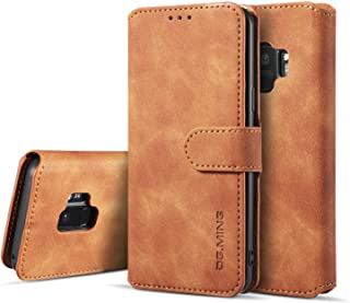 UEEBAI PU Leather Case for Samsung Galaxy S8 Plus, Vintage Retro Premium Wallet Flip Cover TPU Inner Shell [Card Slots] [Magnetic Closure] Stand Function Folio Shockproof Full Protection - Brown