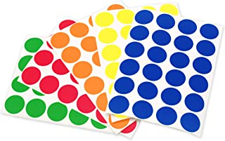 ChromaLabel 3/4 Inch Color Code Dot Labels on Sheets, 5 Assorted Colors, 1200 Variety Pack, Standard