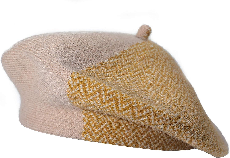 ZLYC Women Winter Berets Hat French Cashmere Warm Artist Classic Print Hat