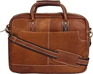 OMAX Genuine Large Compartment Handmade Leather Messenger Laptop Bag for Men (Brown)