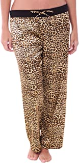 Womens Satin Solid and Printed Pajama Pants, Silky Pj Bottoms