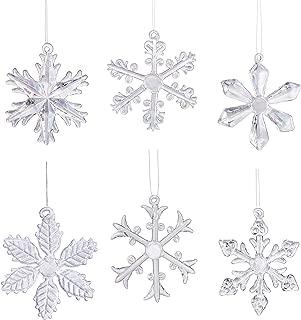 Klikel Glass Snowflake Ornament - Winter Christmas Tree Hanging Decorations - Set of 18