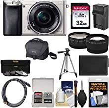 Sony Alpha A6000 Wi-Fi Digital Camera & 16-50mm Lens (Silver) with 32GB Card + Case + Battery/Charger + Tripod + Tele/Wide Lens Kit