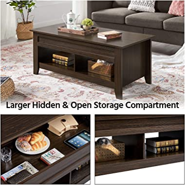Yaheetech Lift Top Coffee Table with Hidden Storage Compartment & 2 Open Shelves, Rising Tabletop Pop Up Center Table for