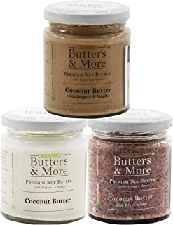 Butters & More Vegan Coconut Butter Combo. All Natural Coconut Butter, Coconut Butter w. Blueberries & Coconut Butter w. J...