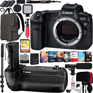Canon EOS R 30.3MP Mirrorless Full Frame Digital Camera Body Bundle with Battery Grip, 64GB Memory Card, Backpack, Microphone, Monopod, LED Light, Editing Suite, Cleaning Kit, Tripod and Battery