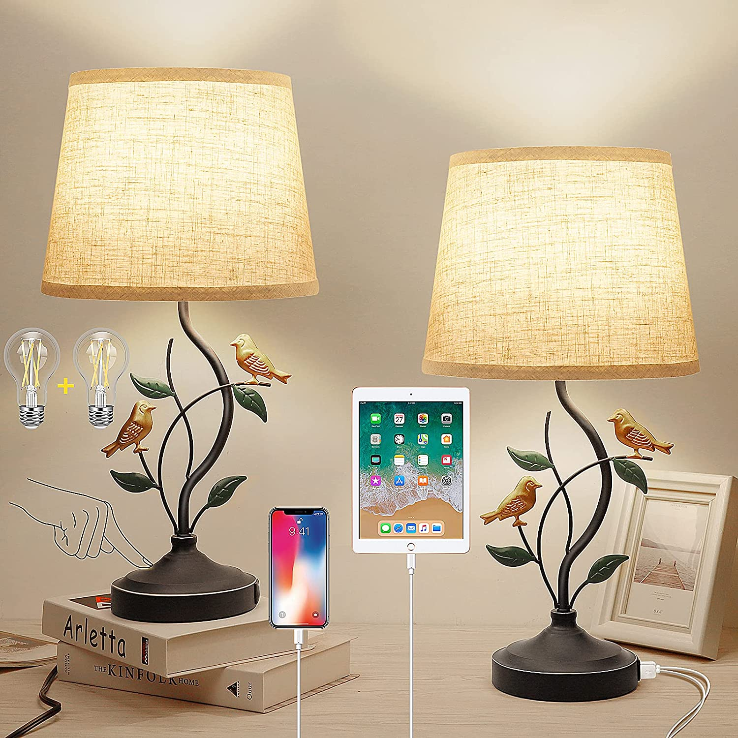 Table Lamps - Bedside Lamps with 2 USB Ports, Dimmable Nightstand Lamps with 6W LED Bulb, Touch Lamp with Fabric Shade for Bedroom, Living Room, Office Set of 2