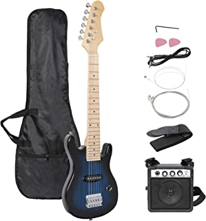 """Smartxchoices 30"""" Kids Mini Electric Guitar Bass Guitar Bundle Kit for Beginners Starter with Gig Bag,Cable,Strap,Picks Combo Accessory Holiday Gift (Blue, No Amp)"""