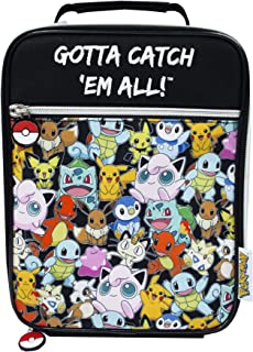 Pokemon GOTTA CATCH 'EM ALL Official Insulated Lunch Bag Zip Up Lunch Box with Drink Bottle Holder