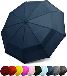 EEZ-Y Windproof Travel Umbrella - Compact Double Vented Folding Umbrella w/Auto Open and Close Button