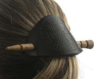 Fermacapelli in cuoio Vegvisir, decorato a mano con fermo a bastoncino di legno