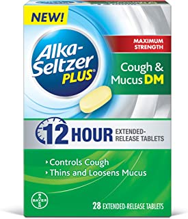 Alka-Seltzer Plus Maximum Strength Cough & Mucus DM, 12 Hour Relief That Thins and Loosens Mucus and Controls Cough, 28 Extended Release Tablets