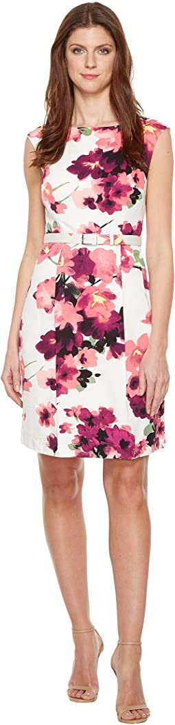 Printed Cotton Faille Belted A-Line Dress