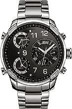 JBW Luxury Men's G4 0.16 ctwt Diamond Wrist Watch with Stainless Steel Link Bracelet