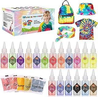 Gifort Tie Dye Kit 18 Couleurs Vives, Peinture Textile et Tissu Permanent Non Toxique DIY Graffiti Dye mit Poudres Tie Dy...
