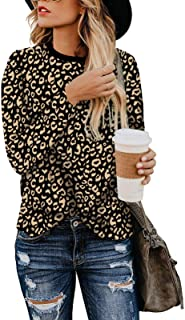 Womens Casual Leopard Print Tops Long Sleeve Crew Neck Tee Shirts Blouse