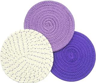 Mia'sDream Purple Kitchen Potholders Set Trivets Set 100% Pure Cotton Thread Weave Hot Pot Holders Set Hot Pads Hot Mats, Round Stylish Coasters, Diameter 7 Inches, Set of 3 Pack, Purple Set