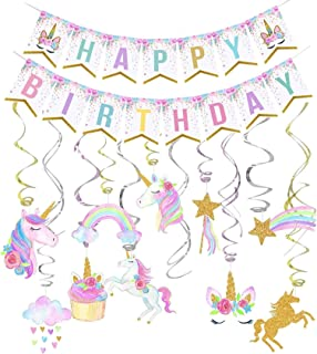 Unicorn Birthday Decorations, Unicorn Party Decorations, Unicorn Party Supplies, Uincorn Party Favors, Unicorn Happy Birthday Banner and Unicorn Hanging Swirl for Girls Birthday Party Decorations