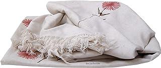 Tela lino y flores, manta o colcha decorativa pintada a mano, Colección Linos exclusivo de BeccaTextile.