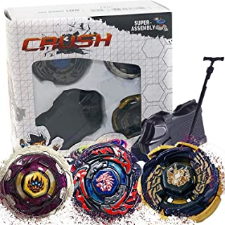 Crush Battling Game Tops Metal Fusion Starter Set | Launcher Included | 3 Set - L-Drago Destructor, Phantom Orion and Black Sun Galaxy Pegasus